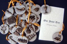 Heirloom Jesse Tree Christmas Ornament Set with devotional booklet in Antique Gold. $189.99, via Etsy.