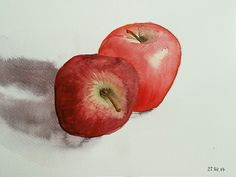 Watercolor red apples #watercolor #apples #painting
