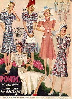Pond's summer fashions from 1941 40s dress floral color photo print ad white blue pink hats shoes illustration
