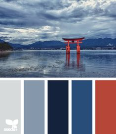 torii tones: navy, dusty blue, light slate blue and icy gray accented with enamel red