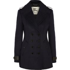 Burberry London Wool and cashmere-blend peacoat ($1,010) ❤ liked on Polyvore featuring outerwear, coats, jackets, casacos, burberry, blue, short, short coat, blue double breasted coat and double-breasted pea coat