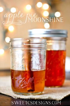 Apple Pie Moonshine- a delicious fall warmer that also makes a fantastic group gift! - Ingredients: 1 gallon apple cider 1 gallon apple juice 3 cups white sugar 8 cinnamon sticks 1 liter bottle of 190 proof grain alcohol (everclear) Party Drinks, Cocktail Drinks, Fun Drinks, Yummy Drinks, Alcoholic Drinks, Holiday Drinks, Cocktail Recipes, Fall Cocktails, Wine Cocktails