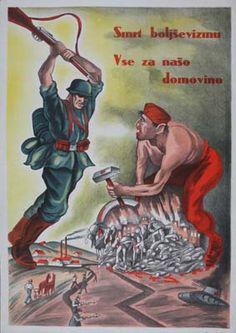 Death for Bolshevism All for our homeland, Slovenian ww2 propaganda poster