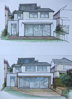 2 sketch options on an extension on the drawing board at the moment. The roof might as well stay as it has been previously constructed under permitted development, but we are planning on going out to the right double storey, and up to 4.5m deep at the rear