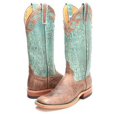 BootDaddy Collection with Anderson Bean Turquoise Bombshell Cowgirl Boots|Square Toe Boots