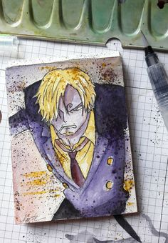 Sanji, the cook  One Piece, Ep. 752 6,0 x 10,5 cm, Watercolor  #OnePiece #Sanji