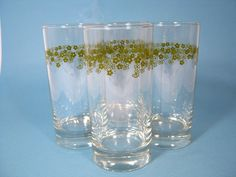 Green Crazy Daisy Tumblers - Set of 4 Spring Blossom Glasses via Etsy.