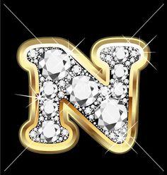 letter N | Letter n gold and diamond vector art - Download Bling vectors