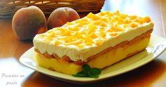 Veja como preparar uma deliciosa sobremesa fresca e colorida: Um pavê de pêssego, que surpreende até os mais exigentes