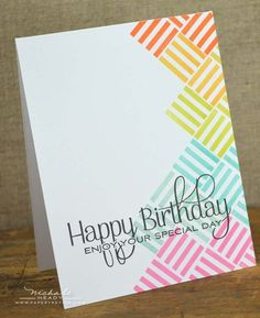 Happy Birthday Rainbow card using Square prints
