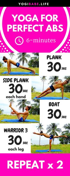 6-Minutes Yoga For Perfect Abs | All you need to start shaping your abs is 6 minutes, 4 simple yoga poses and a smile :) Let's hop on the mat!