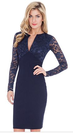 Classy bodycon dress has lace sleeves and top and the torso is solid print. Very nice for work and events.