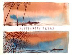 Copertina di Fiume Lento. Un viaggio lungo al Po, edito da Rizzoli 2013. Illustration by Alessandro Sanna