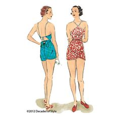 illustration for 1930s Vintage sewing pattern 1930s Beach Romper from Decades of Style - Reproduction US$20.00