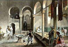 Peinture d'Algérie - Bains Maures à Alger. Gravure sur acier dessinée et gravée par E. Rouargue. 1843. Aquarellée à la main.