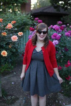 Room 334: Apricity Sunday Dress + Red Cardigan + Modcloth cat eye sunglasses