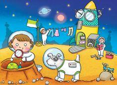 space, spaceship, alien, children's book, by Kate Daubney, kids, illustration