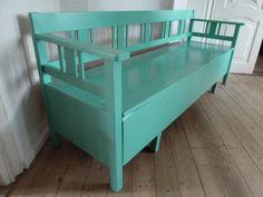 Coloured bench [slagbænk] Garden Benches, Outdoor Furniture, Outdoor Decor, Bliss, Backyard, Colours, Interiors, Cabinet, Storage