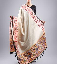 Ivory Block Printed Bhagalpuri Silk Stole