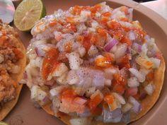 Tostada de Ceviche de camarón crudo @comolocal #mazatlan @mariscos luis
