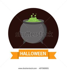 Halloween. A vector flat style with the text and  the raging cauldron. The leaflet, a banner, a poster, for the holiday Halloween.