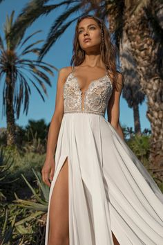 Beautiful Embroidered Slip Sheath Backless Chiffon Slit Wedding Dress / Bridal Gown with V-Neck Cut, Spaghetti Straps and Open Back for the Beach Wedding by Asaf Dadush Slit Wedding Dress, Dream Wedding Dresses, Bridal Dresses, Wedding Gowns, Prom Dresses, Formal Dresses, Wedding Dress Beach, Tunic Dresses, Bridesmaid Gowns