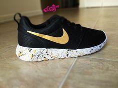Custom Nike Roshe Black and Gold splatter design, Custom Roshes, Womens and Mens, Unisex sizes
