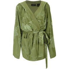Fenty X Puma tonal floral kimono jacket ($454) ❤ liked on Polyvore featuring outerwear, jackets, green, green jacket, green kimono, floral kimono, green floral kimono and floral-print bomber jackets