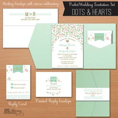 Whimsical Mint, Gold & Pink Pocket Fold Wedding Invitations, Dots and Hearts design by Designed By M. Wedding Reception Invitation Wording, Whimsical Wedding Invitations, Wedding Anniversary Invitations, Pocket Wedding Invitations, Invitation Set, Wedding Invitation Templates, Wedding Stationery, Wedding Pins, Wedding Paper