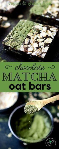 Healthy Chocolate Matcha Oat Bars! Vegan, gluten free and oil free!Healthy vegan recipes. Gluten free plant based oat bars. Plant based no-bake bars.