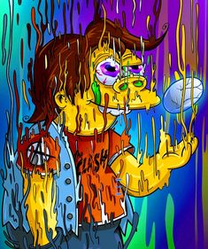 Melting Nelson, The Simpsons - Art Tutorial and Ideas Simpson Wallpaper Iphone, Trippy Wallpaper, Graffiti Wallpaper, Cartoon Wallpaper, Cool Wallpaper, Psychedelic Art, Simpsons Art, Dope Cartoon Art, Science Fiction Art