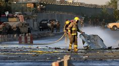 Firefighters responded to a suicide attack near the Afghan Defense Ministry in…