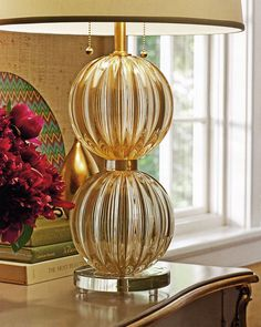 beautiful clear and gold Venetian glass lamp; decorating with Venetian glass