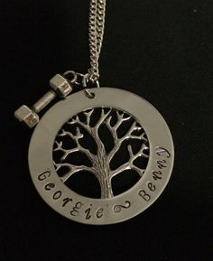 Cross fit weights and Family Tree Personalized Hand Stamped Necklace by Giftitright on Etsy