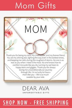 The love between you and your Mom is forever. Show your love for Mom with this beautiful interlocking circle design symbolizing the connection between Mother & Daughter. This elegant piece is designed to shine and make Mom feel like the queen she really is. Christmas Present Ideas For Mom, Christmas Mom, Christmas Shopping, Christmas Ideas, Xmas, Thank You Gift For Parents, Thank You Gifts, Gifts For Mom, Parent Gifts
