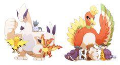 Pixiv Id 1830798, Pokémon, Zapdos, Lugia, Entei, Moltres