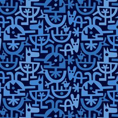 Lo Cole-print & pattern blue