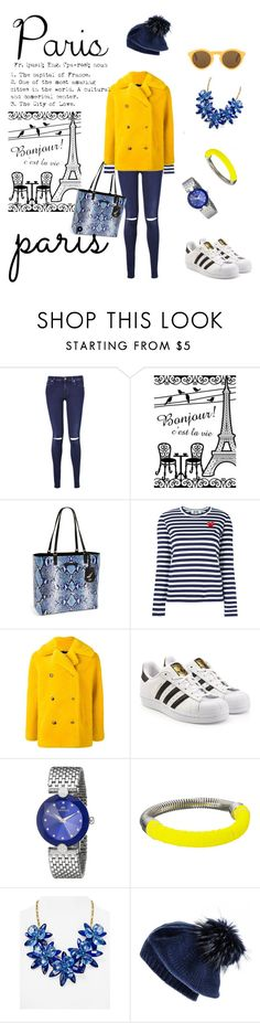 """""""Paris Weekend"""" by geonell ❤ liked on Polyvore featuring 7 For All Mankind, Diane Von Furstenberg, Play Comme des Garçons, Roseanna, adidas Originals, French Connection, Kate Spade, Black and CÉLINE"""