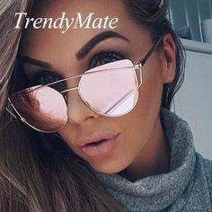 49a6cffca2 Hot 2017 New Cat Eye Sunglasses Women Brand Designer Fashion Twin-Beams  Rose Gold Mirror