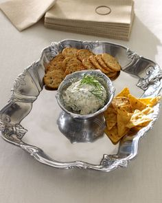 Arthur Court Fleur De Lis chip and dip tray
