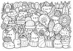 Doodle coloring pages plants page printable cute for kids and adults invasion christmas art do Cute Coloring Pages, Doodle Coloring, Coloring For Kids, Adult Coloring Pages, Coloring Books, Cute Doodle Art, Doodle Art Drawing, Kawaii Doodles, Cute Doodles