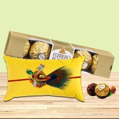 A yummy chocolate hamper is the best way to impress your dearest brother.  Choose to buy this delicious gift #combo  of yummy Ferrero Rocher chocolates and authentic peacock rakhi on this #Rakshabandhan & get 10% off on #Rakhi‬  products only at #BringHomeFestival