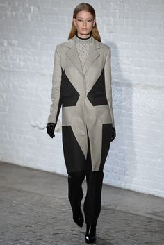 Yigal Azrouël | Fall 2015 Ready-to-Wear | 09 Grey/black coat, white top and black trousers