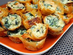 Spanakopita Bites ---a good app idea.  Needs garlic, and sub out the cottage cheese w/ Ricotta.