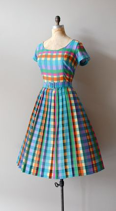 Bright candy colored plaid dress.