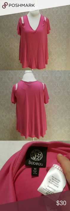 "NWT Bobeau Cold Shoulder NWT Bobeau magenta cold shoulder flutter sleeve top, sexy & comfortable fit! Size M, can fit a L. 1st photo is stock photo, Last photo collage is made from stock photos, obviously wrong color but same top otherwise. Measures 27"" long and 19"" armpit to armpit. No trades. bobeau Tops"