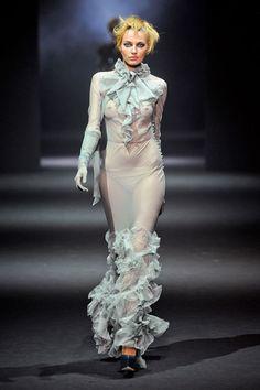' John Galliano Fall 2012    #fashionweek #runway #fall2012 ' #monotone #blue #chiffon #sheer #frills