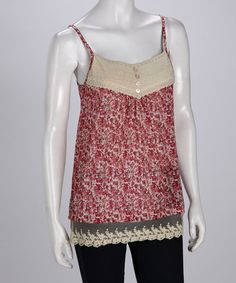 Red Floral Camisole by Young Threads on #zulily!