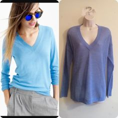 NWT J. Crew Knit Oversized Spring Pullover Waffle texture classic blue v neck pullover with banded sleeves. 100% merino wool. Please do not purchase this listing. Ask for new one. No trades. Generous discount with bundle. Offers welcome. J. Crew Sweaters V-Necks