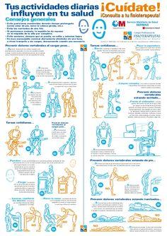 Tus actividades diarias ¡Cuídate! influyen en tu salud ¡Consulta a tu sioterapeuta!Consejos generales• Evite posiciones man...